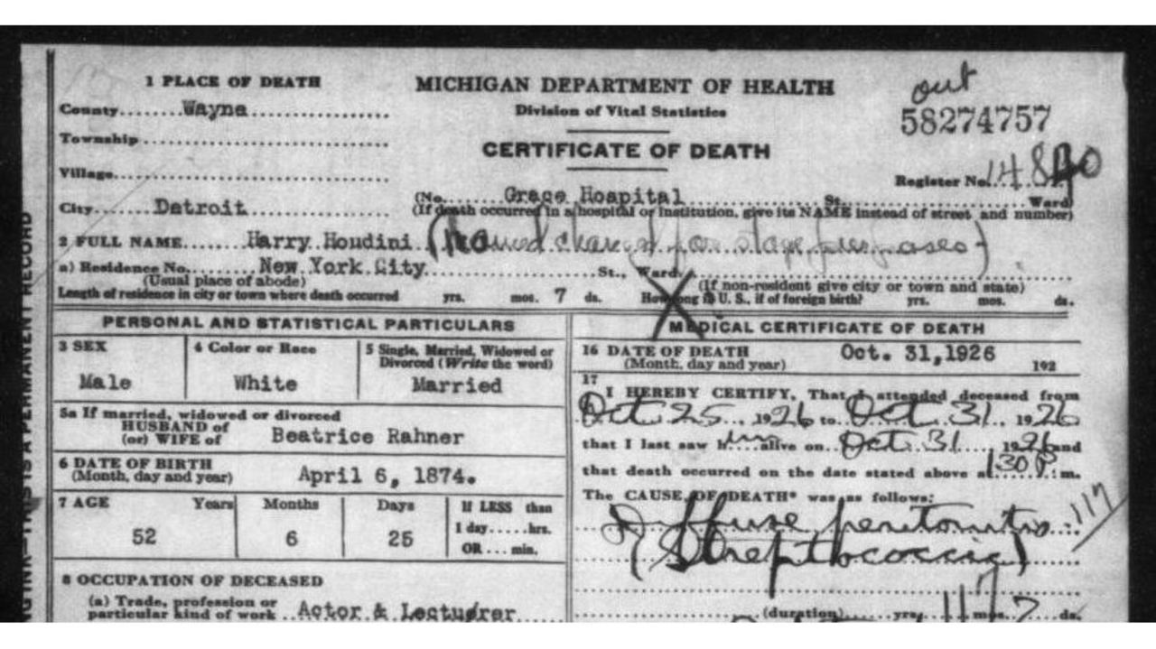 Houdinis Death Certificate Among Newly Available Records