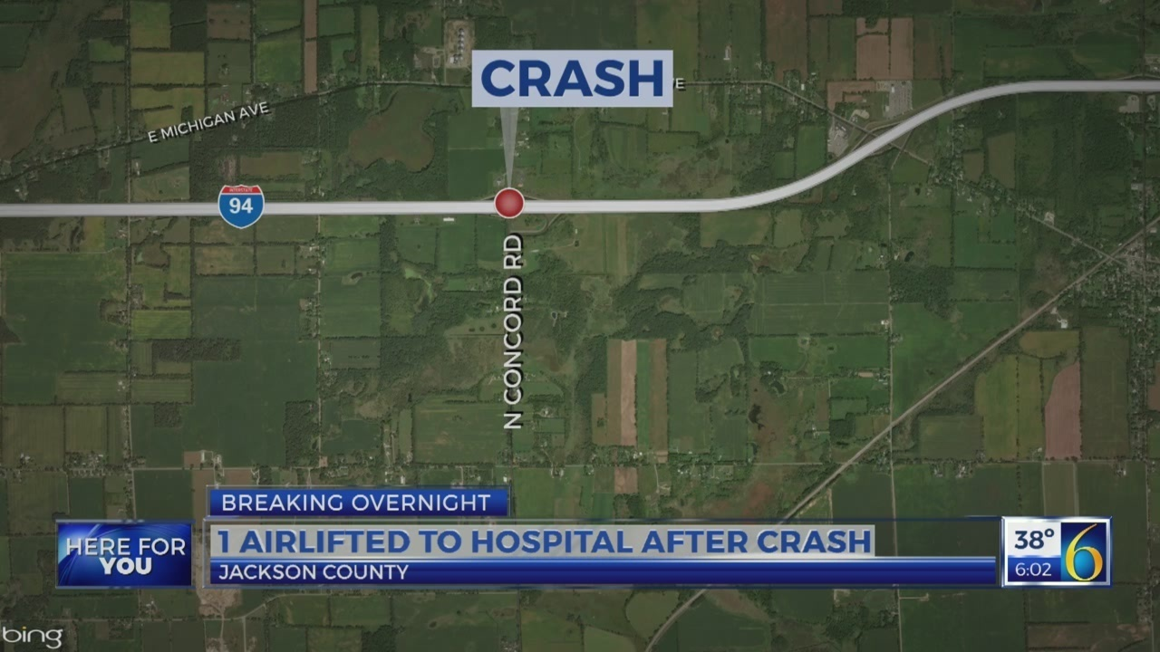 Concord Michigan Map.Person Airlifted To Hospital After Jackson Co Crash