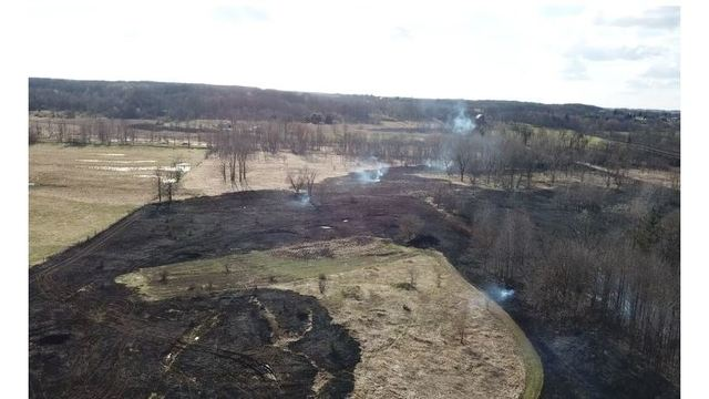 WATCH: Drone video of damage left by grass fire near Vermontville